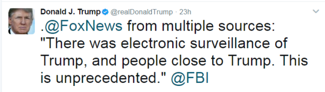Trump tweet (FBI)
